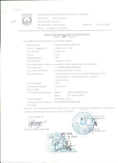 surat keterangan domisili perusahaan prima handanu bhakti