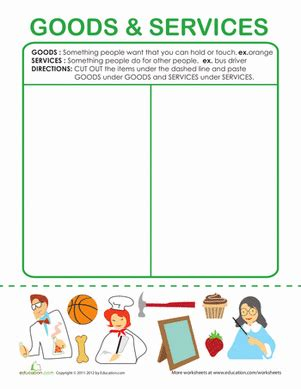 Goods And Services Worksheets by Exles Of Goods And Services Worksheet Education