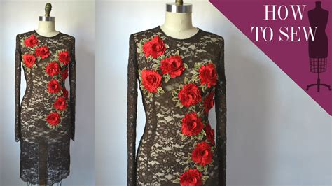 how to sew applique how to sew a lace flower applique sheath dress