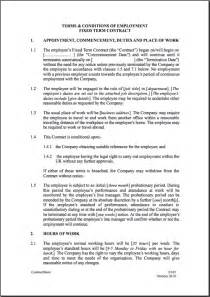 template employment contract fixed term employment contract template