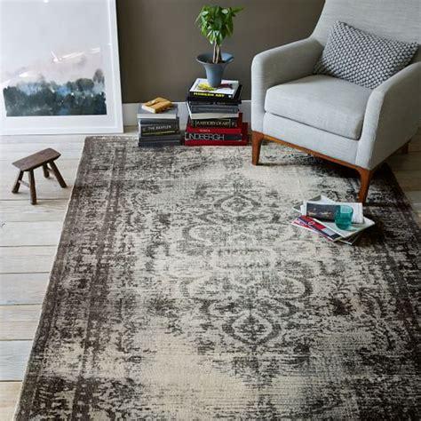 distressed arabesque wool rug steel west elm