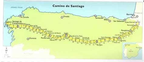 El Camino Map by Daily Map Of The Camino De Santiago Camino De Santiago