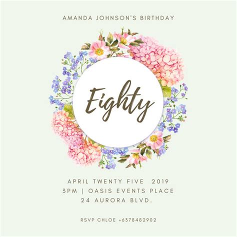 Happy 80th Birthday Card Template by Birthday Invitation Templates Canva