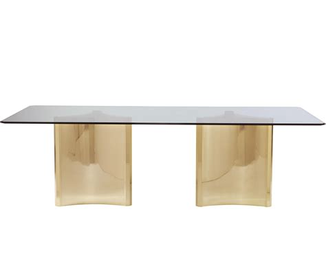 double pedestal glass top dining table bernhardt interiors abbot double pedestal metal dining