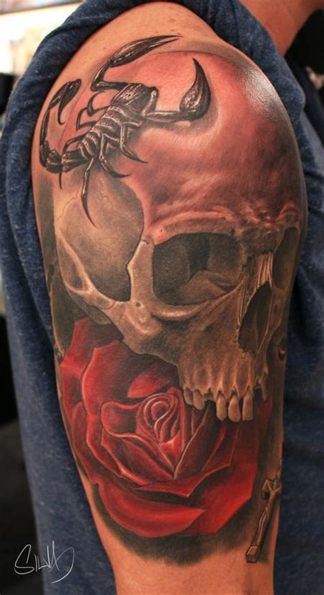 scorpion tattoo with rose custome skull scorpion by marvin silva tattoos