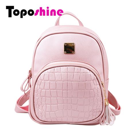 Bag Korea Po 33 toposhine 2016 new korean backpacks fashion pu leather shoulder bag crocodile pattern small