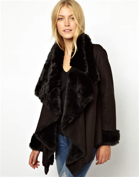 shearling drape jacket asos oasis faux shearling drape coat in black lyst