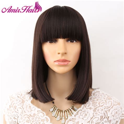 hairstyle with wigs with bangs for african women amir straight black synthetic wigs with bangs for black