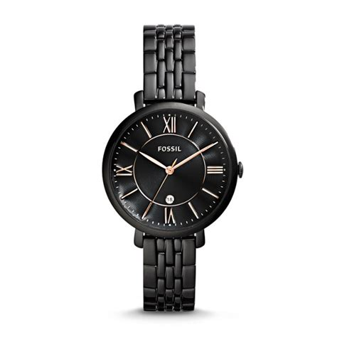 Fossil Bf Black Es3817 Black Leather Jam Fossil Original jacqueline black stainless steel fossil