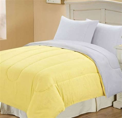 Solid Yellow Comforter by Solid Reversible Comforter Yellow Grey Bedroom For The