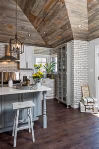 Farmhouse Shiplap Whitewashed Brick Reclaimed Barn Wood Shiplap Interiors