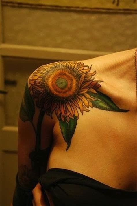sunflower tattoo on shoulder tumblr 125 sunflower tattoo to brighten your day