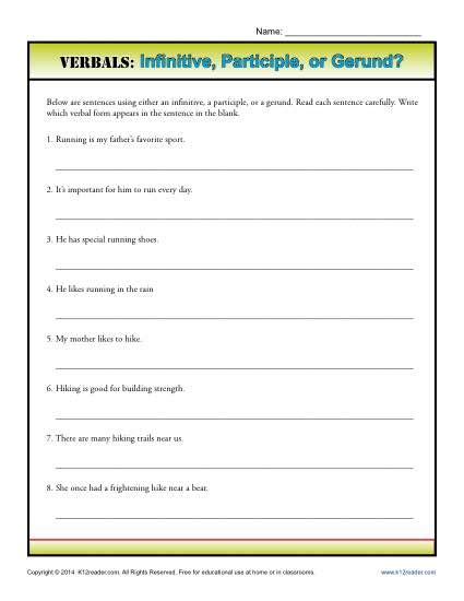 diagramming infinitives gerunds participles and infinitives worksheets wiildcreative