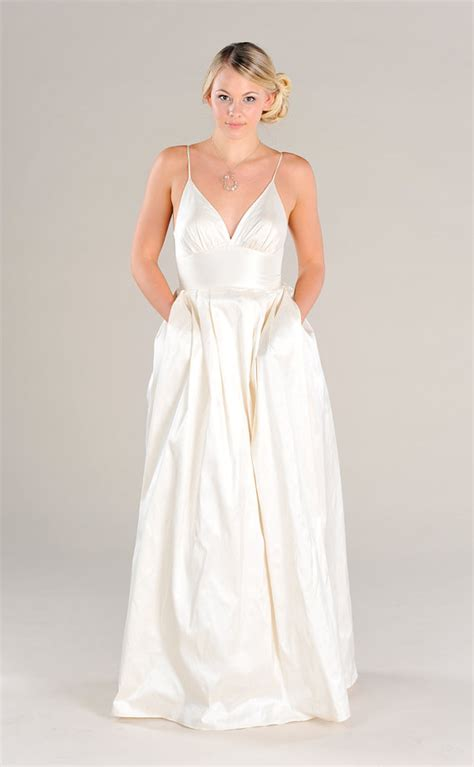 Owl V Neck Dress Ori modern simple v neck wedding dress with pockets