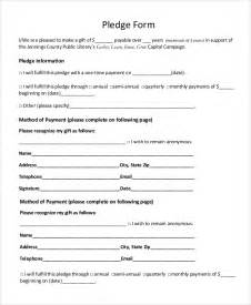 Pledge Form Template Word by Sle Pledge Form 8 Exles In Pdf Word