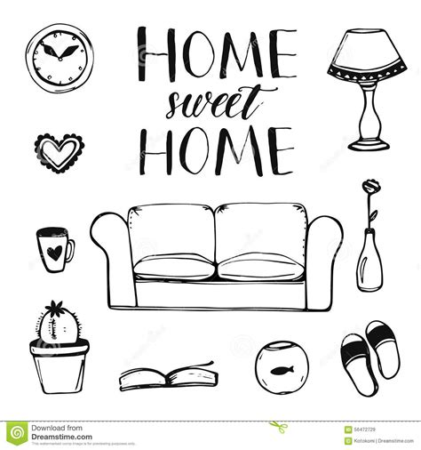 doodle home vector home interior doodles stock