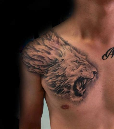 fierce lion tattoos designs 24 best chest and shoulder images on