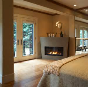 modern fireplace design ideas set in corner brown decor