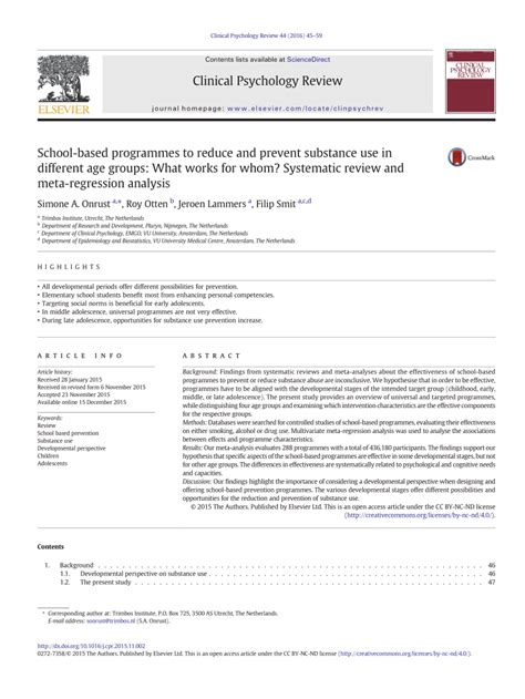Literature Review Of Regression Analysis by School Based Programmes To Reduce And Prevent Substance Use In Different Age Groups What Works