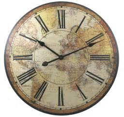 World Map Clock by Pics Photos Benrus Wall Clock Numeral Globe World Map