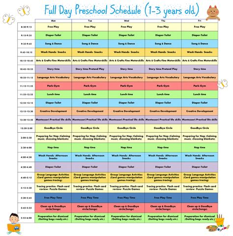 kindergarten timetable template daily family schedule calendar template 2016