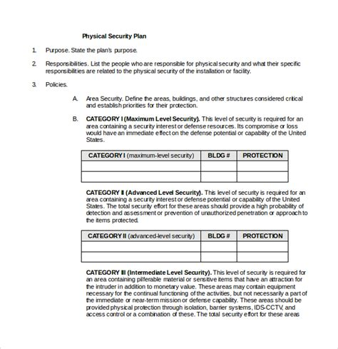 physical security survey template sle security plan template 10 free documents in pdf
