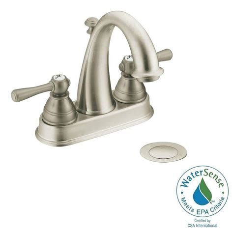 brushed nickel bathtub faucets moen kingsley 4 in centerset 2 handle high arc bathroom faucet in brushed nickel with