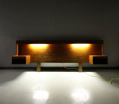 danish teak king size headboard with lights and floating