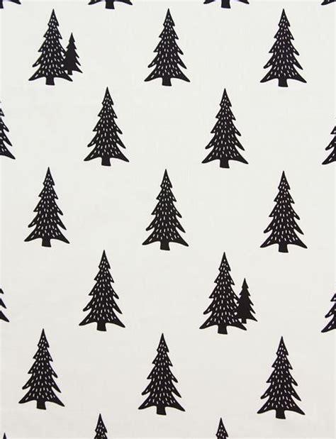 black and white tree pattern scandinavian style pine tree black pattern cotton fabric