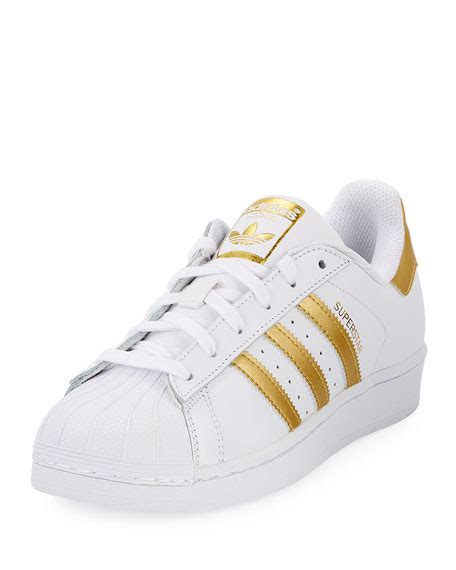 adidas superstar original fashion sneaker white gold