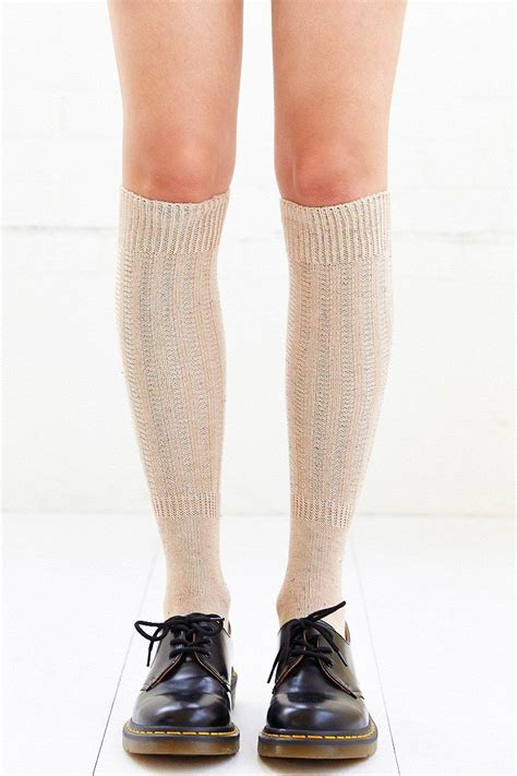 Knee Socks nep yarn ribbed knee high sock accessories