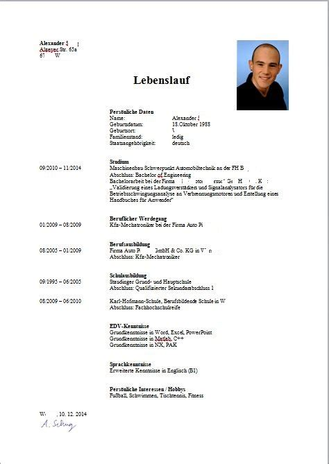 Lebenslauf Schweiz Unterschrift Lebenslauf Muster Als Hochschulabsolvent Bewerbungsforum
