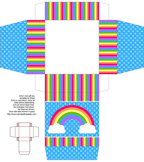 printable paper with picture box rainbow printable gift box my creations printables