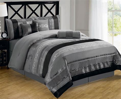 Black Grey Bedding Sets Bedroom Black And Gray Comforter With Sham On Grey Bed Frame With Gray Patterned Comforter Also
