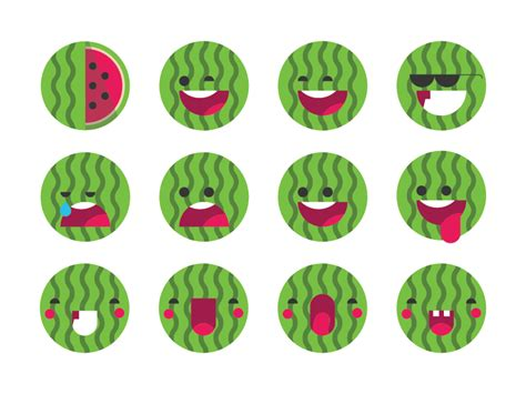 watermelon emoji watermelon emoji set by ema dimitrova dribbble