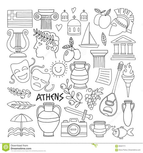 doodle history ancient greece vector elements in doodle style for