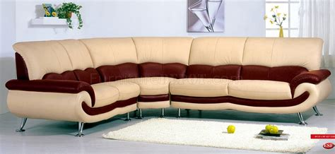 two tone leather sectional sofa two tone leather modern sectional sofa w chromed metal legs