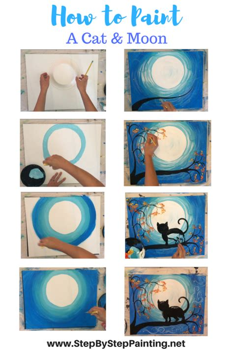 acrylic painting how to step by step how to paint a cat and moon tracie s acrylic canvas