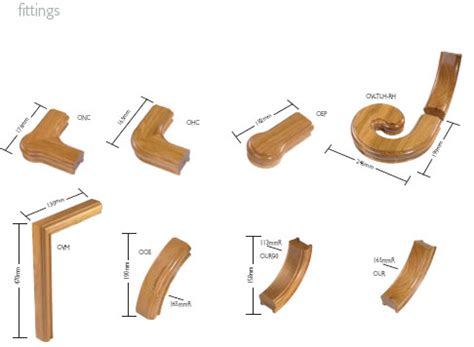 banister fittings oak handrail and baserail sections from the traditional range of stair products