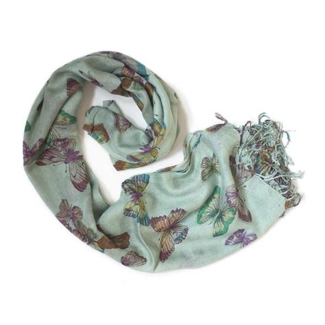 Scarf Printing 3037 mint green butterfly print scarf from the source