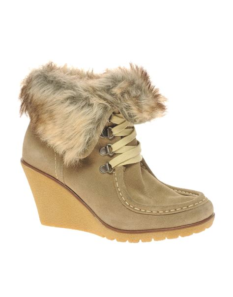 aldo aldo peasnall faux fur wedge ankle boot in brown