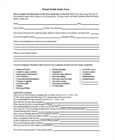 Sle Mental Health Forms 8 Free Documents In Word Pdf Psychiatric Intake Form Template