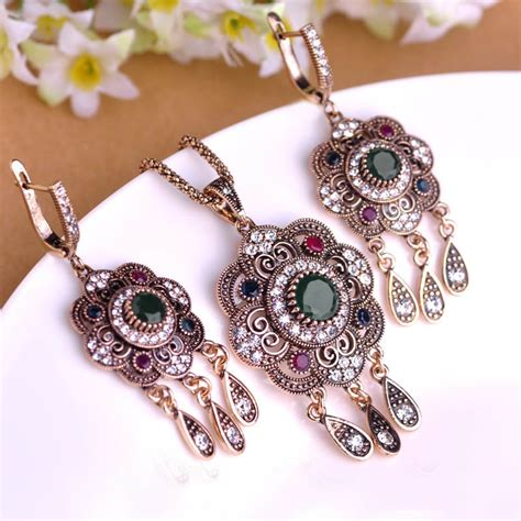 2016 vintage turkish jewelry sets green flower pendant