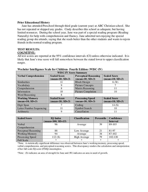 Full Psychological Report Sle Wechsler Nonverbal Scale Of Ability Report Template