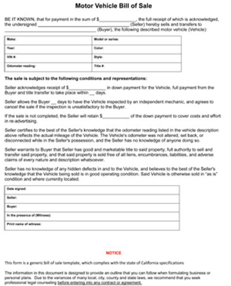 bill of sale california template california bill of sale form 8ws templates forms