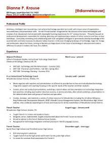 Educational Technology Specialist Sle Resume by Dianne Krause S Resume