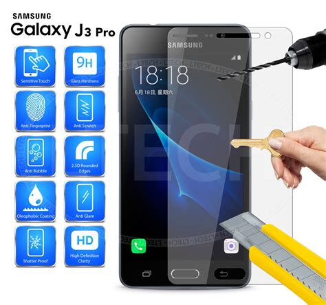 Samsung J3 2016 Tempered Glass Screen Guard Anti Gores Protector Kuat Samsung Galaxy J3 Pro Duos 2016 100 Tempered Glass