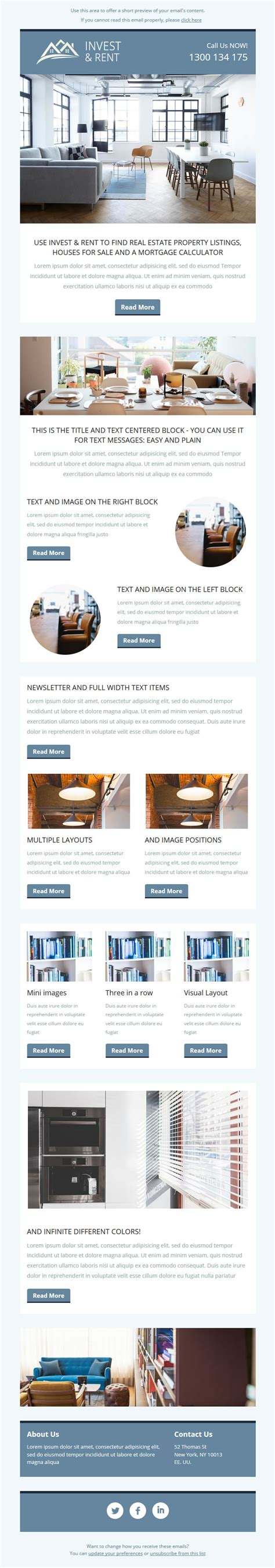 Real Estate Email Template For Mailchimp Invest And Rent Mailchimp Real Estate Newsletter Templates
