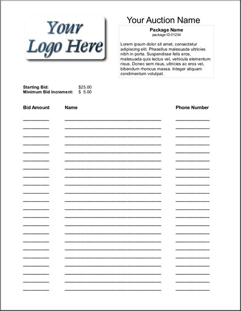 auction template free blank silent auction bid sheets