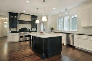 Kitchen Cabinets And Islands large kitchen with black island and mix of black and white cabinets i